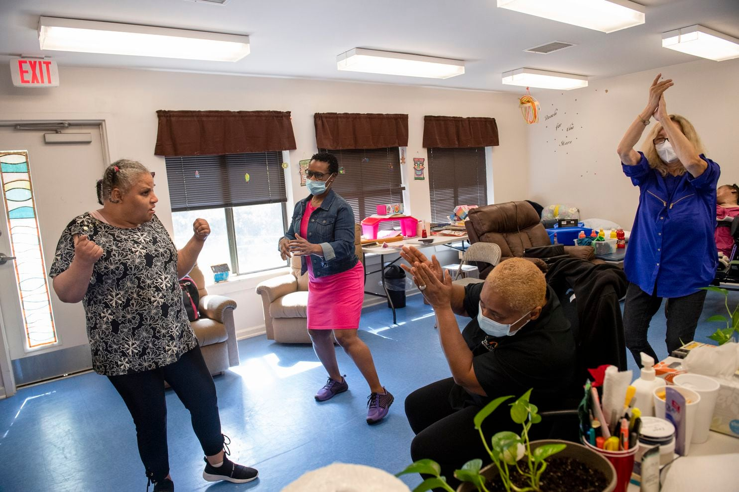 Dancing disabled patients Before entering their day program at Louisiana